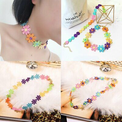 BOHO Beach Colorful Flower Clavicle Chain Choker Necklace Charm Women Jewellery