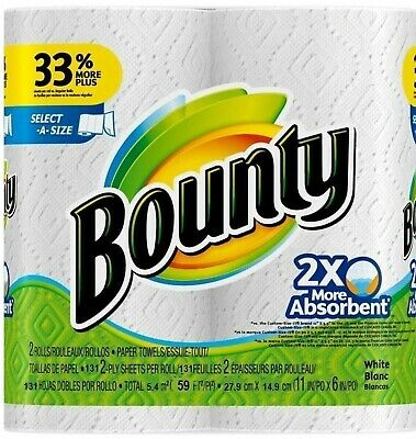 Bounty Select-a-Size 2 x More Absorbent Paper Towels,11 x 5.9-Inches, 96-PLY ...