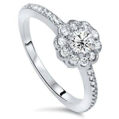 Halo Diamond Engagement Ring 1/2 ct 14k White Gold Solitaire Round Brilliant Cut