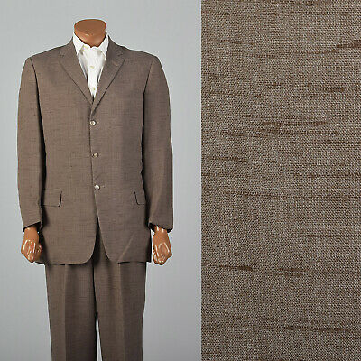 Medium 1950s 42L Brown Suit Three Button Jacket VTG Matching Pleat Front Pants