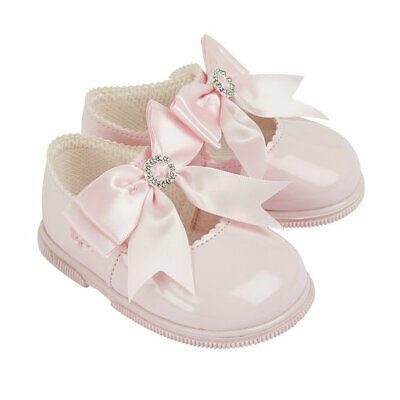 Baby Girls Shoes With Diamante Bow First Walkers Baypods Made In Uk