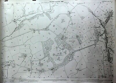 1899 Old Antique Ordnance Survey 25 inch to 1 mile Map Frizington Rheda Cumbria