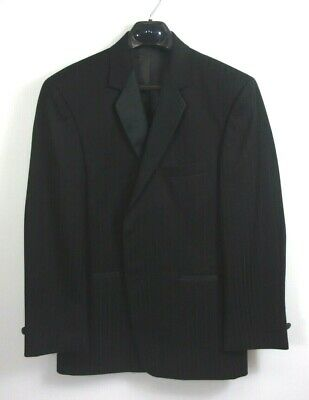 After Six 100% Wool Black Tuxedo Jacket with Satin Stripes 48L New  #369SC