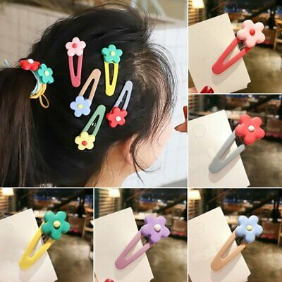 Cute Candy Color Flower Hairpins Snap Hair Clip for Kids Girl Barrettes BB Clips