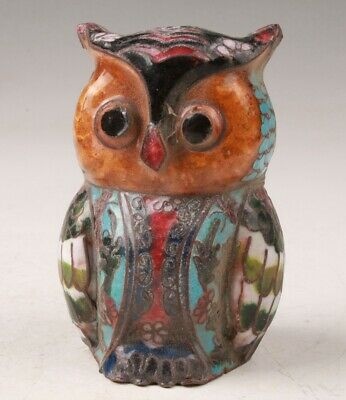 Chinese Cloisonne Hand Carving Cute Owl Figurines Statue Gift Collection
