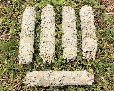"5 White Sage Smudge Sticks / Wands: HUGE 8"" (House Cleansing Smudge Bundle)"