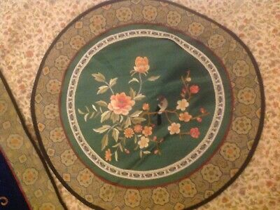 Set Of 2 (Feng Shui Chinese Embroidered Tapestry Round and Square Pieces.)Vintag