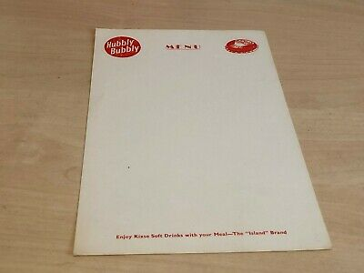 Unused Double Sided Vintage Hubbly Bubbly Advertising Menu Card