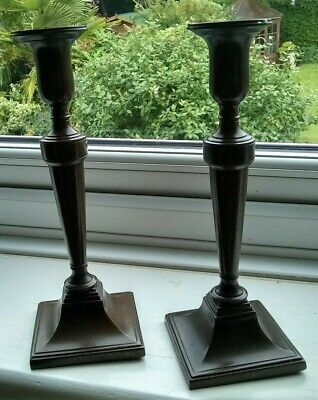"""pair of Vintage Copper Candlesticks 3.5"""" sq base 10"""" tall"""