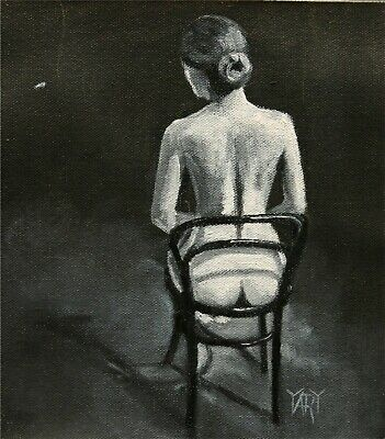 SOLD Nude Black White Woman Girl Seated FIgure ORIGINAL OIL PAINTING Yary Dluhos