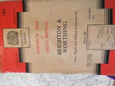 Brighton & Worthing-Sussex: 182:Series 7: 1St True Post-War Ordnance Map-1954-60