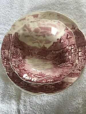 "Johnson Brothers Pink Olde English Countryside 10"" Two Dinner Plates & Bowl"