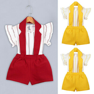 2PC Toddler Kids Baby Girls Outfit Casual  Stripe T-shirt Tops+Shorts Pants Set