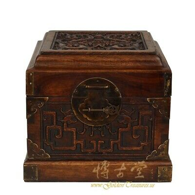 Antique Chinese Hand Carved Rosewood Dragon Jewelry Box