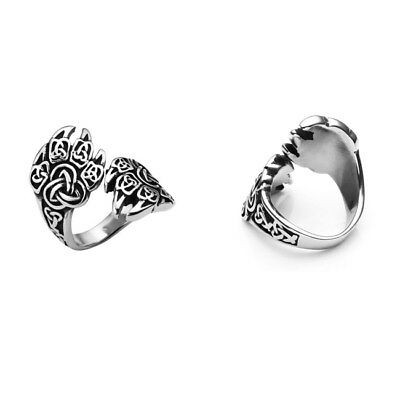 Men's Stainless Steel Celtic Knot Claw Ring Bear Paw Wolf Palm Finger Ring-NJ