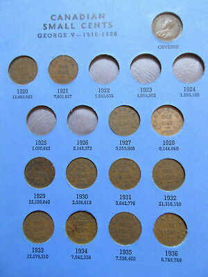 Set of Canada Small Cents (1920-1972). BETTER GRADES IN WHITMAN FOLDER (SR01)