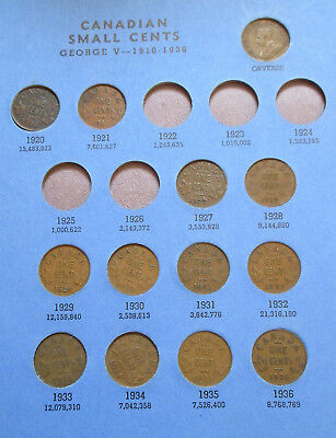 Set of Canada Small Cents (1920-1972). BETTER GRADES IN WHITMAN FOLDER (SR03)