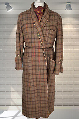 Vintage 50's Gents Shawl Collar Wool Plaid Dressing Gown Smoking Jacket Robe M/L
