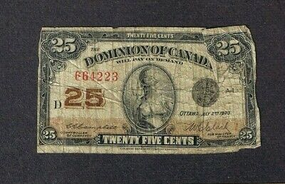 Canada 1923 Dominion of Canada 25 Cents Bank note