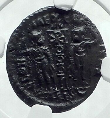 CONSTANS Authentic Ancient SOLDIERS w CHRISTIAN CHI-RHO Roman Coin NGC i78523
