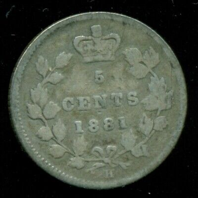 1881H Canada, Stirling Silver 5 Cent, Queen Victoria   I2