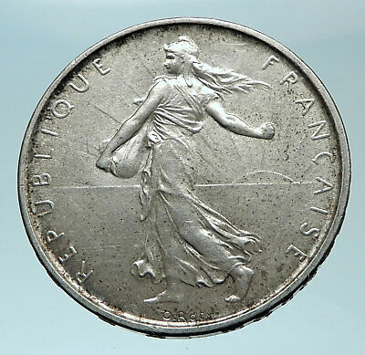 1961 FRANCE French LARGE with La Semeuse SOWER WOMAN Silver 5 Francs Coin i78768
