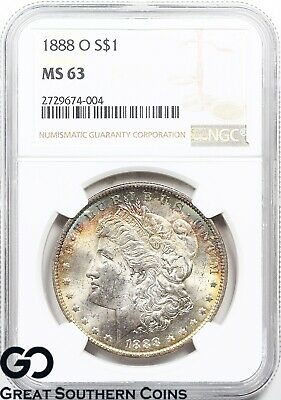 1888-O Morgan Silver Dollar Silver Coin NGC MS 63 ** Nice Rainbow Colors!