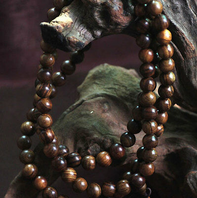 Fragrant Black rosewood108 8MM Buddhist Prayer Bead Mala Necklace/BraceletAf