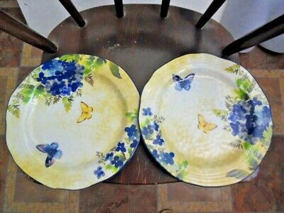 """2 Pier 1 Imports Butterfly Plastic Dinner Plates 11"""""""