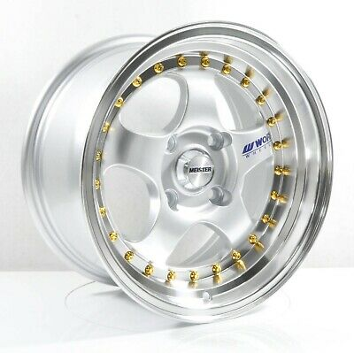 Rims For Cheap >> 4pcs Work Meister S1 15inch 8j 4x100 4x114 3 Alloy Wheels