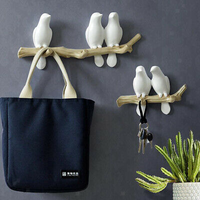 Wall Mounted Coat Rack Birds on Tree Branch Hanger Hooks for Clothes Hat Key