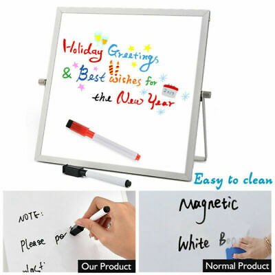 "10x10"" Magnetic Whiteboard Double-Sided Dry Erase Easel Stand 360° Rotating"