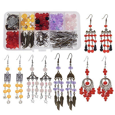 276pcs/Box Crystal Acrylic Beads Jewelry Earrings DIY Making Accessories Kits