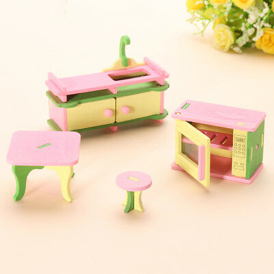 4Pcs Wooden Kitchen Furniture Dolls House Miniature Children Role Play Toys Gift