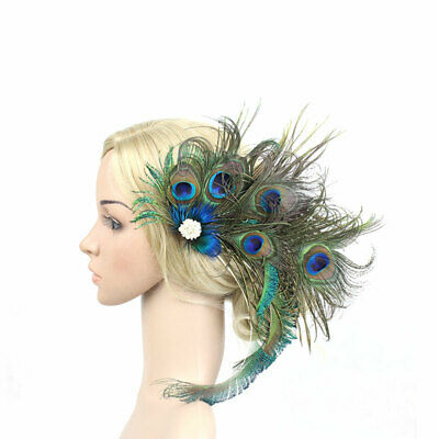 Peacock Feather Fascinator Clip Handmade Women Hat Bridal Wedding Party Headwear