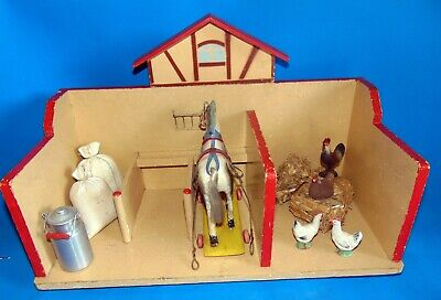 SUPERB vintage/old complete stable/dollhouse with  horse & accesories 20 inches