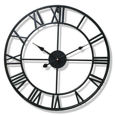 Large Garden Wall Roman Numeral Clock Open Face 47CM Metal Skeleton UK