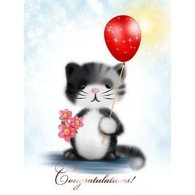 5D DIY Full Drill Diamond Painting Lovely Balloon Cat Cross Stitch Mosaic SN9F