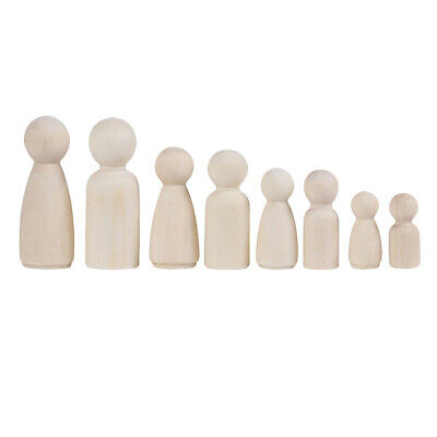 12pcs Unfinished Wood Peg Doll Natural Wooden People DIY Craft Decoration