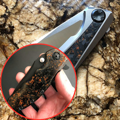 Collectible DIY Knife Supplies Blade Handles Marbled Carbon Resin Copper Powder