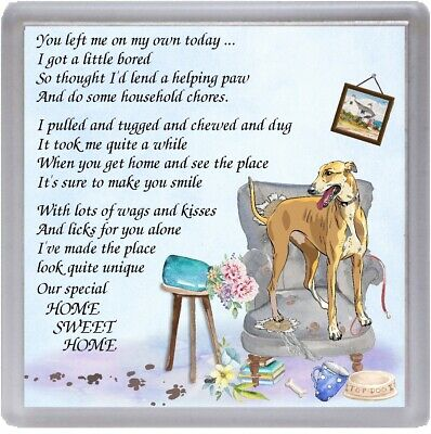"Greyhound Dog Coaster ""HOME SWEET HOME Poem .."" Designed by Starprint"