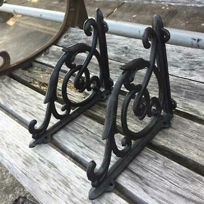 Iron Bracket Antique Style Pair Cast Braces Garden A Brackets Black Shelf