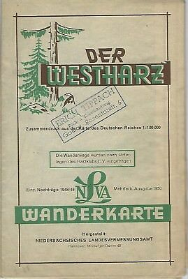 Westharz Hiking Map - German Topographic Map of Harz Mtns. 1950 Cold War Era