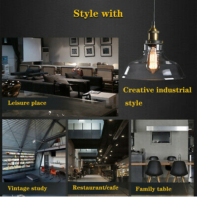 Vintage Industrial Loft Style Hanging Pendant Light Ceiling Glass Lamp Shade Lot