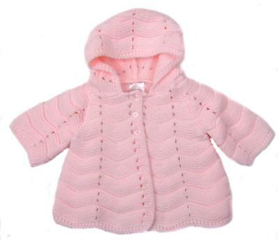 Traditional Baby Jacket Fancy Knit Pretty Baby Pink Total Bargain 0-3 Months