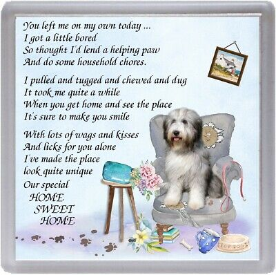 "Bearded Collie Dog Coaster ""HOME SWEET HOME Poem ...."" Novelty Gift by Starprint"