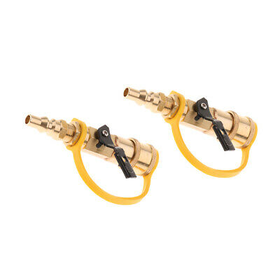 2x 1/4 Inch RV Propane Quick Connect Disconnect Fittings Brass Shutoff Valve