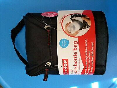 Skip Hop Grab & Go Double Bottle Bag Insulated and Freezer Pack Black