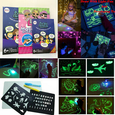Draw With Light In Darkness Sketch pad Luminous Drawing Board and Pen Games Toys