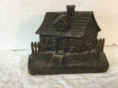 Antique Cast Iron Cottage Doorstop National Foundry Crawford Valves Weymouth MA